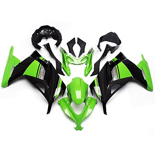 Sportfairings Plastic ABS Injection Special Edition Black Green Fairing kits For Kawasaki EX300R Ninja 300 Year 2013 2014 Covers (Kawasaki Ninja 300 Fairings compare prices)