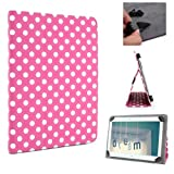 ANLADIA Pink Polka Dot Premium PU Leather Folio/ Flip Case Cover Wallet Stand Protection Protector BOOK Skin For 10