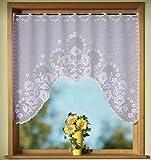 Gardinen, Vorhang, Jacquard Fensterbild in M-Bogenform. mit Stangendurchzug , Farbe Weiß, Höhe 95cm x Breite 120cm, für Fensterbreite 90 - 110cm
