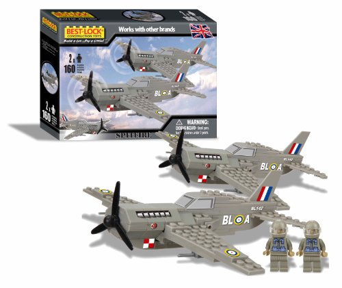 Best Lock Military Spitfire Planes - 160 Piece Brick Set - NEW