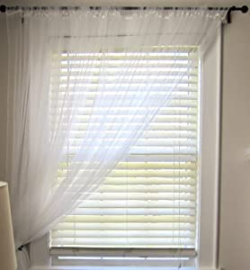 ikea pair long floaty white net curtains 3m long can be cut to size kitchen home. Black Bedroom Furniture Sets. Home Design Ideas