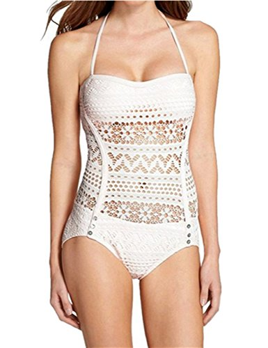 Ninimour Elegante Costume Intero Pizzo Vuoto Sexy Swimsuit One Piece Swimwear