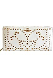 COACH Leather Mini Studs Accordion Zip Wallet in Light Gold / Chalk White 53135