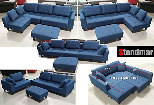 Superb 2015 New Multifunction Sectional Sofa In Blue Jean Fabric Theyellowbook Wood Chair Design Ideas Theyellowbookinfo