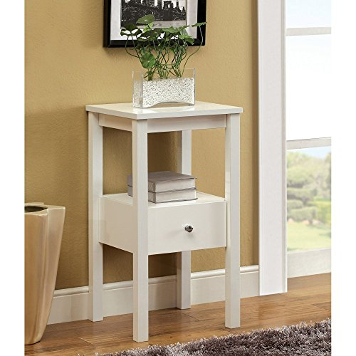 Furniture Of America Furniture Of America Single Storage Drawer Side Accent Table, White, Wood Top front-806542