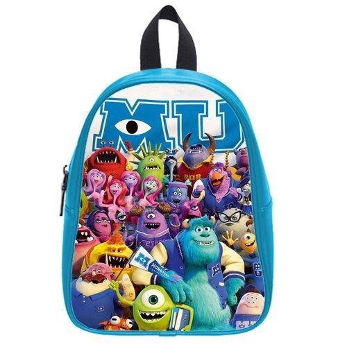 Generic Custom Cute Disney Monsters University Roles Printed Deep Sky Blue School Bag Backpack Fit Short Trip Pu Leather Medium front-924235