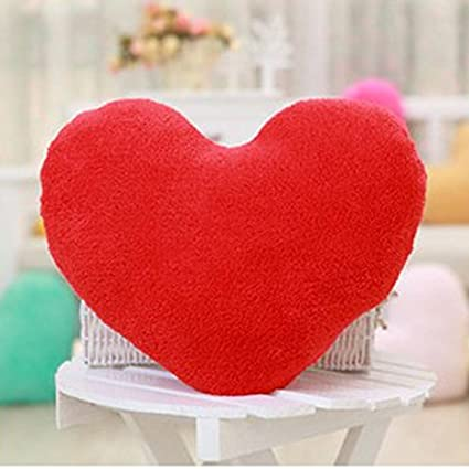 HuaYang 1/5 Colors Soft Sweet Love Heart Shape Fluffy Throw Pillows Cushions(Red)