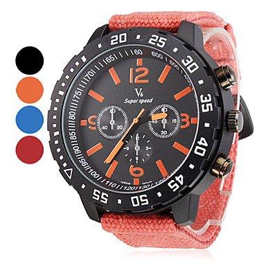 Men'S Big Round Case Fabric Band Quartz Wrist Watch (Assorted Colors) , Orange