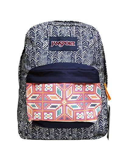 JanSport Superbreak Backpack (Navy Moonshine Chevron Stripe)