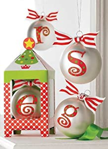Amazon Com Initial Personalized Christmas Ornament By