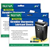 Nuova Shredder Sharpening & Lubricant Sheets - 24 counts (12 X 2-Pack)