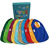 BEST Baby Teething Bibs With Snaps Closure (10 Pack) Waterproof 100% Terry Cotton Colorful Dribble & Teething Unique Drooler Bibs Set - Perfect For Baby Registry Baby Shower Gift Basket NewBorn, Toddler Boys & Girls By CHARIS KID