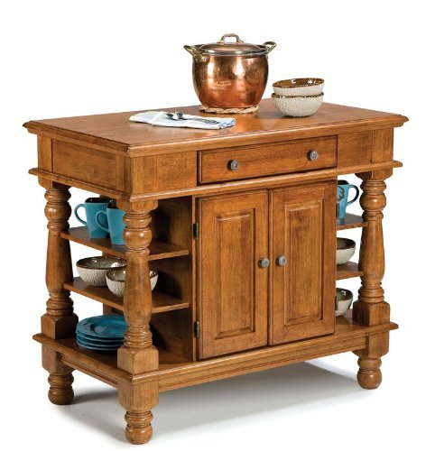 Cheap Kitchen Island with Turned Legs in Cottage Oak Finish (VF_HY-5093-94)