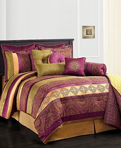 Leilani Purple Gold And Green Full Size Comforter Set Clearance front-715796