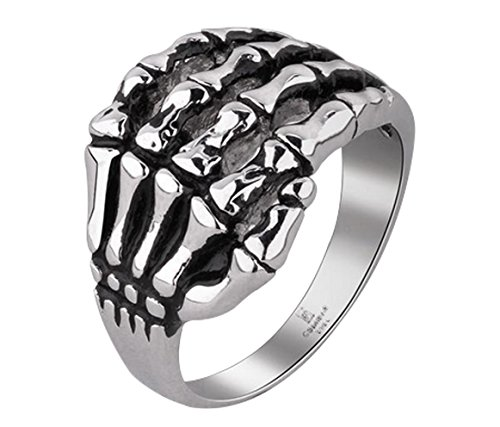 [Aimeio Skeleton Joints Rock Cool Punk Rings for Men Retro Antique Silver Plated Gothic Ring Motorcycle Jewelry] (Joker 2016 Costume)