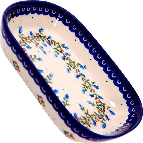 Polish Pottery Ceramika Boleslawiec 0726/166, Butter Platter, 6-Inch by 4-1/2-Inch