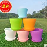 5pcs/lot Plastic Flower Pots Plant Pot With Tray Garden Office Home Supplies
