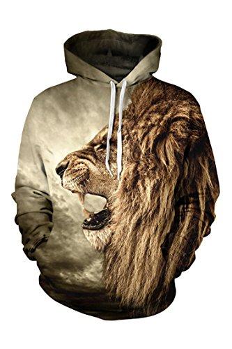 Pink Queen Big Pockets Drawstring Pullover Hoodie Sweatshirt(Roaring lion,L) (Roaring Twenties Mens Fashion)