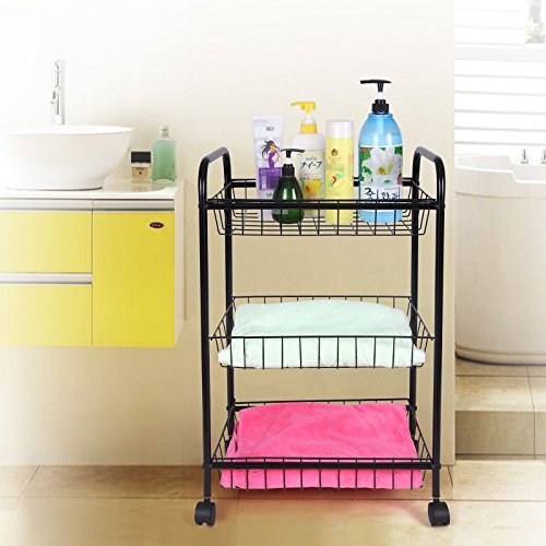 Songmics 3 tiers rolling storage cart with 2 removable for Bathroom cart on wheels
