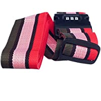 Imported Adjustable Luggage Strap Travel With Combination Lock Red Pink And Grey