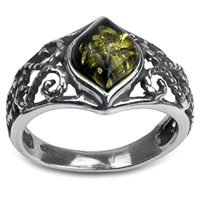 Sterling Silver Green Amber Marquise Shaped Ring