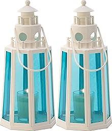 2 Ocean Blue Beach Lighthouse Lamp Candle Lantern Wedding Centerpieces