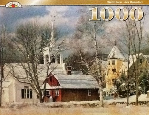 Landoll's 1000 Pc. Fully Interlocking Jigsaw Puzzle Winter Scene - New Hampshire Church Barn House - 1