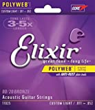 Elixir® Strings Acoustic 80/20 Bronze Guitar Strings with POLYWEB® Coating, Custom Light (.011-.052)