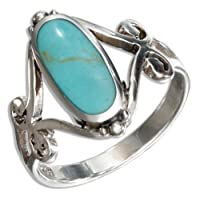 Sterling Silver Oval Turquoise Ring with Open Scroll Designs