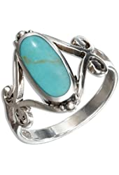 Sterling Silver Oval Simulated Turquoise Ring with Open Scroll Designs