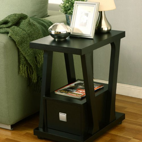 Selby Contemporary Style Black Finish End Table front-602270
