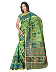 Sehgall Saree Indian Bollywood Designer Ethnic Professional Designer Faux Silk Print Saree Green
