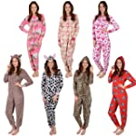 Ladies Fleece All In One Piece Pyjama...