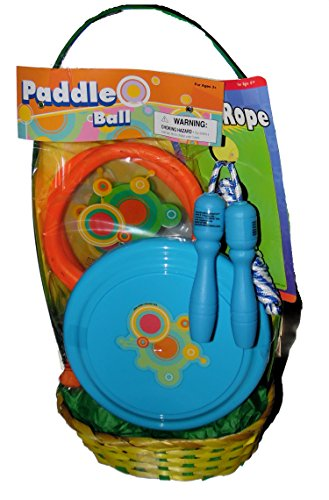 Easter Basket with Paddle Set, Jumprope and Flying Disk Toys
