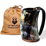 "Norse Tradesman Genuine Viking Drinking Horn Mug - 100% Authentic Beer Horn Tankard w/ Rosewood Bottom and Ring Engravings | 24 Ounces | The ""Eternal"""