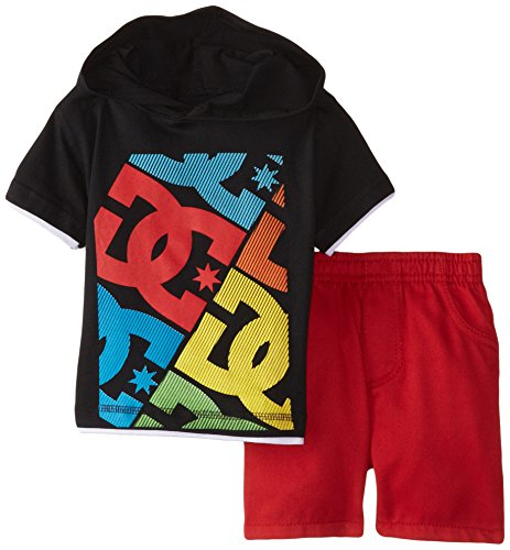 DC Shoes Co Baby Boys' Black Hooded Tee with Red Shorts