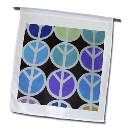 Florene Sixties - Purple Aqua and Blue Peace Symbols - 12 x 18 inch Garden Flag (fl_34999_1)