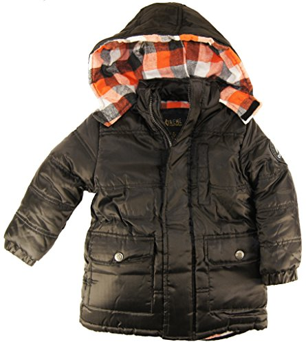 Ixtreme Little Boys 4-7 Classic Puffer Hooded Winter Jacket, Black, 5 front-792633