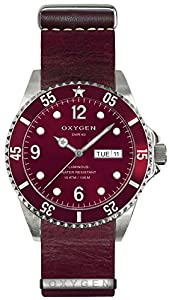 OXYGEN Grape 40 unisex quartz Watch with red Dial analogue Display and red leather Strap EX-D-GRA-40-NL-PL