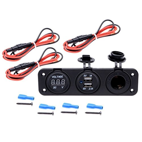 Qunqi Car DC Digital Voltmeter + Dual USB 2 Port Charger + DC12V Power Socket Three Hole Panel For Boat Car (With Wire) (Digital Voltmeter Panel compare prices)