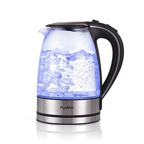 Glas Edelstahl Wasserkocher exclusive blaue LED Innenbeleuchtung 1,7 Liter