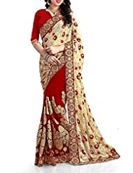 SareeShop Red And Cream Color Chiffon Embroidered Party Wear Saree With Blouse Piece(1118_RED)