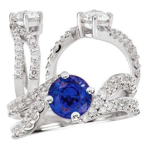 18K Elite Collection Lab-Created 6.5Mm Round Blue Sapphire Engagement Ring With Twisted Diamond Band