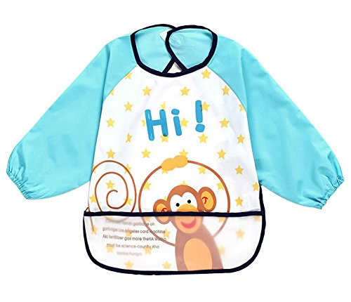 Cute Cartoon Monkey Waterproof Sleeved Bib Baby Smock Baby Bibs, 0-3 Years - 1