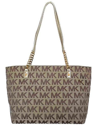 Michael Kors MK Signature Jet Set EW Chain Tote Bag Handbag Purse - Gold