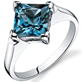 Striking 2.00 carats London Blue Topaz Engagement Ring in Sterling Silver Rhodium Nickel Finish Available in Sizes 5 thru 9