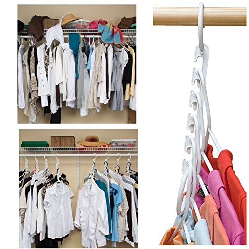 Wonder Hanger Closet Clothes Organizer/Space Saver Storage White Plastic 10 Pack (Hanger Space Saver compare prices)