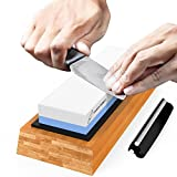 Premium Knife Sharpening Stone Two sided Grit 1000/6000 | #1 kitchen knife sharpener stone | Pocket Knife Sharpener Waterstone | Scissor Sharpener Whetstone | NonSlip Bamboo Base & Angle Guide