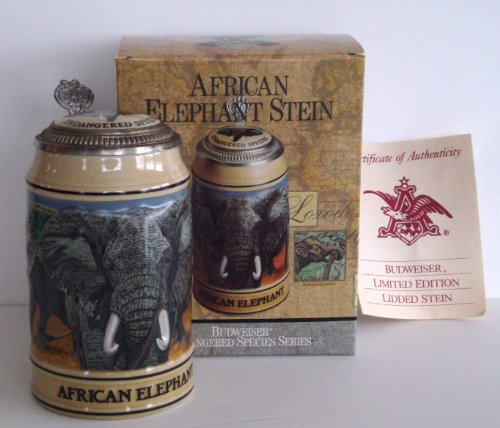 1991 Budweiser Endangered Species Series, Lidded Beer Stein, African Elephant