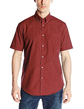 Van heusen men 39 s short sleeve no iron mini grid button up for No iron dress shirts for men